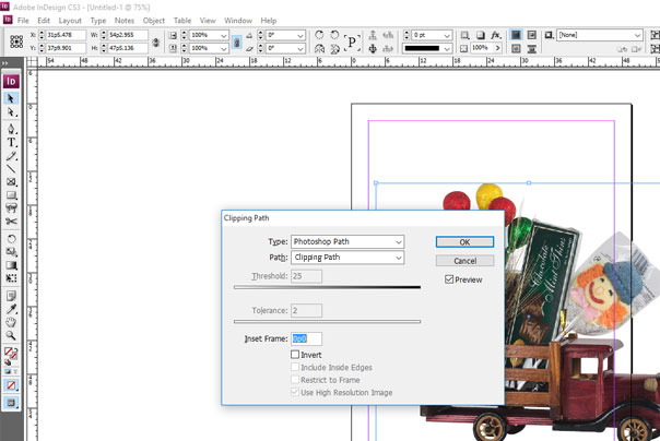 clipping path creation in indesign